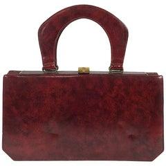 Susan Gail Original Burgundy leather accordion handbag