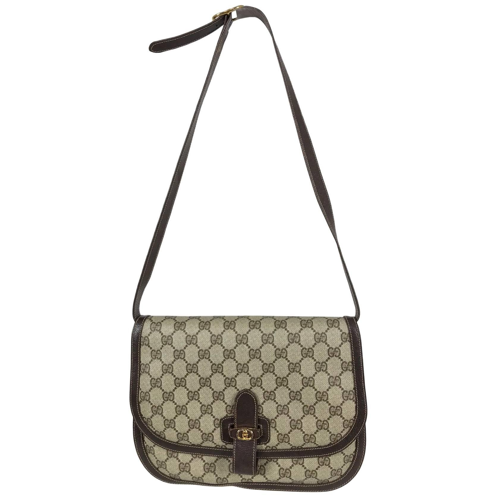 290163cac9cf1a Gucci logo canvas and leather trim flap shoulder bag For Sale at 1stdibs
