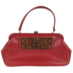 Roger Van S Red Pebble Leather Gold Hardware Handbag 1950s