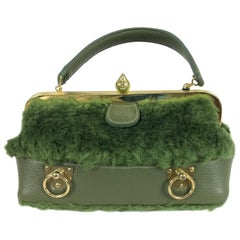 Roger Van S avocado green leather and faux fur handbag gold hardware 1960s NWT