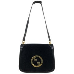 Gucci black suede and leather Blondie shoulder bag with gold hardware, 1970s