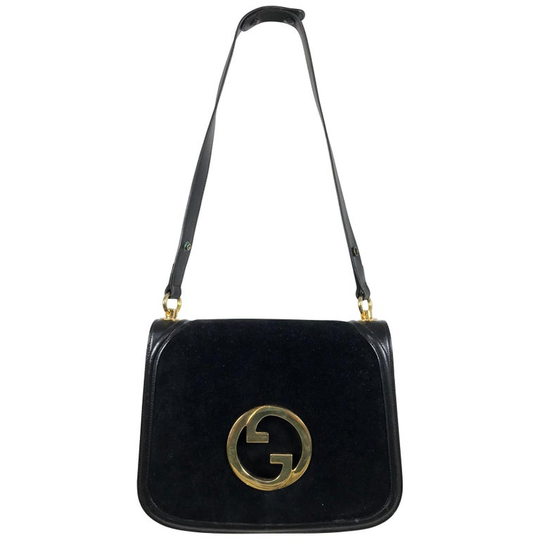 Gucci black suede and leather Blondie shoulder bag with gold hardware, 1970s  For Sale