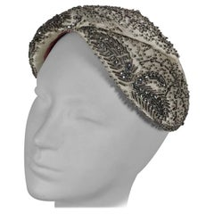 Designed by Lora rhinestone and beaded cocktail hat, 1950s