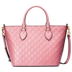New Gucci Signature Candy Pink Top Handle Tote Bag