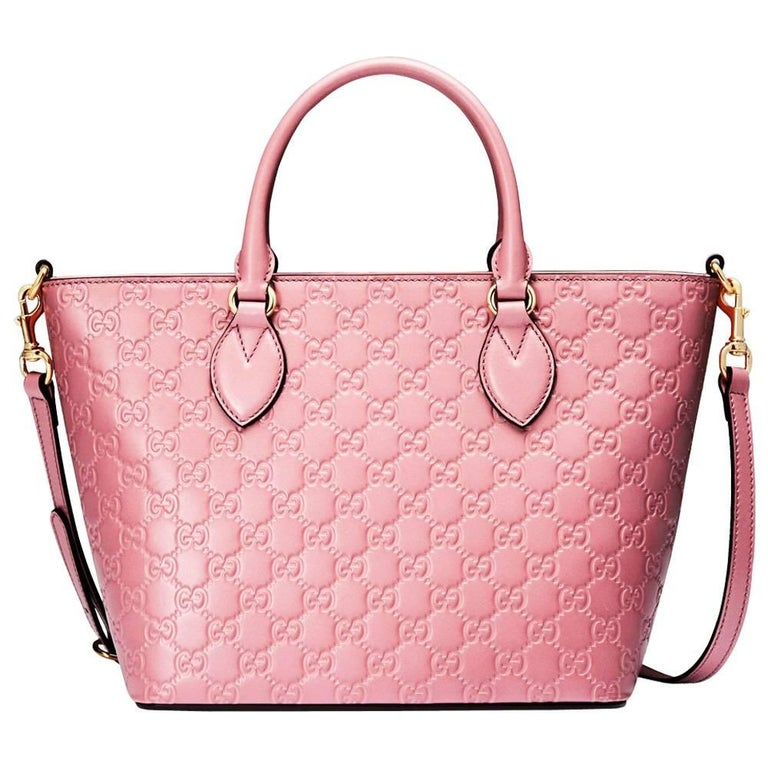 a60ed4e0037 New Gucci Signature Candy Pink Top Handle Tote Bag For Sale at 1stdibs