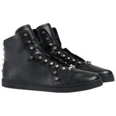 New Gucci Men's Leather Black High-Top Sneakers with Studs sizes G 7, 8 / US 8 9
