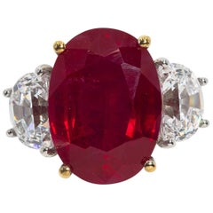 Magnificent  Costume Jewelry Pigeon Blood 10 Carat Ruby Ring