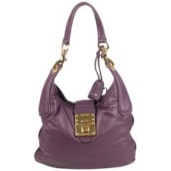 MIU MIU Purple Padded Nappa Leather Hobo Shoulder Bag