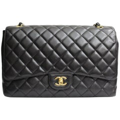 Chanel Classic Maxi Jumbo Single Flap  Bag Hammered Leather