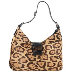 FENDI Animalier Pony Hair Hobo Shoulder Bag Tote