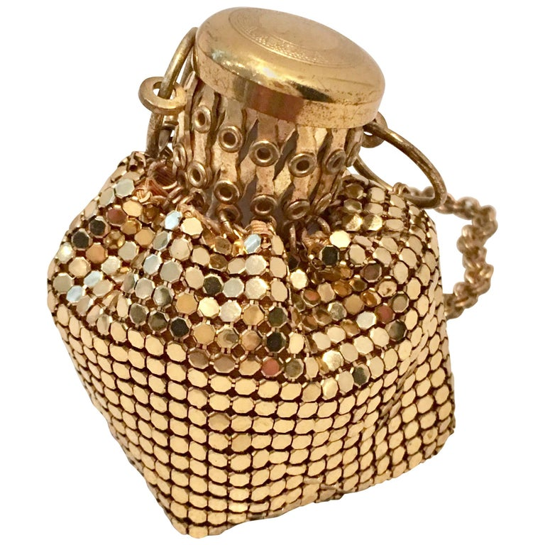 """30'S Gold Metal Mesh """"Beggars"""" Evening Bag By, Whiting & Davis For Sale"""
