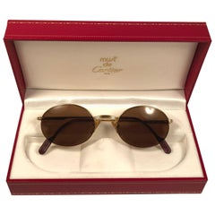 Mint Cartier Oval Gold Manhattan 49mm Frame18k Plated Sunglasses France