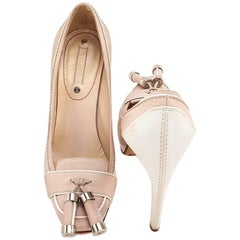 CELINE High Heels in Pale Pink and White Leather Size 37