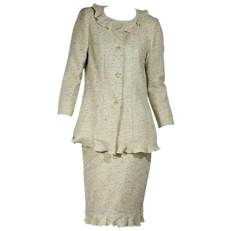 Light Green Chanel Tweed Skirt Suit Set For Sale
