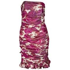 Multicolor Oscar de la Renta Floral Ruched Cocktail Dress