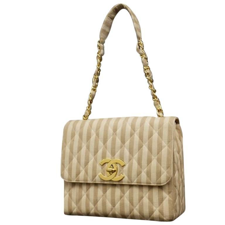 "Chanel Beige and White Canvas Stripe ""CC"" Gold-Toned Hardware Shoulder Bag"