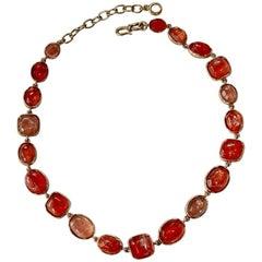 Goossens Paris Hand Tinted Pink Rock Crystal Necklace