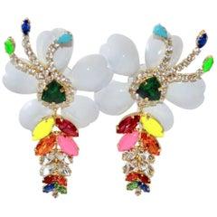 Shourouk Multi-Color Floral Pierced Earrings