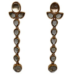 Goossens Paris Tinted Rock Crystal Cashmere Clip Earrings
