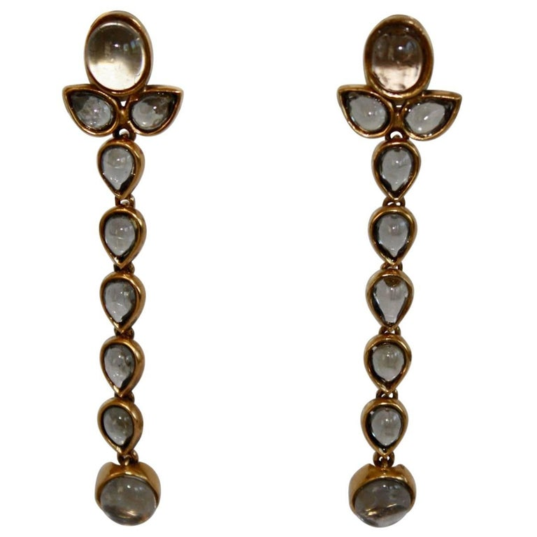 Goossens Paris Tinted Rock Crystal Cashmere Clip Earrings For Sale