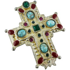 Christian Lacroix Vintage Massive Jewelled Cross Brooch Pendant