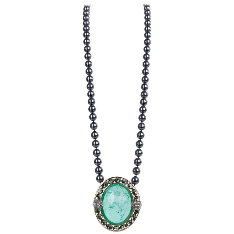 Roberto Cavalli Oval Transparent Green Stone Gunmetal Pearl Pendant For Sale 7cecf21da6