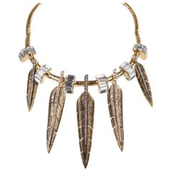 Roberto Cavalli Stone Embellished Feather Charm Choker Necklace