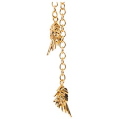 Roberto Cavalli Goldtone Chainmail Feather Charm Choker Necklace