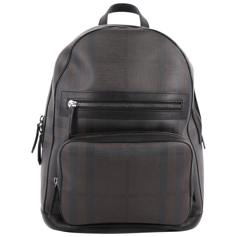 Burberry Marden Backpack London Check Coated Canvas with Leather Small