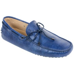 Tod's Men's Blue Laccetto MYCOLORS Gommini Driving Moccasins