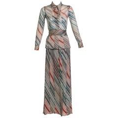 1970s Missoni Diagonal Stripe Lurex Illusion Maxi Skirt and Blouse Set