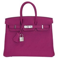 Hermes Birkin 25 Rouge Pourpre Togo Leather with Palladium Hardware