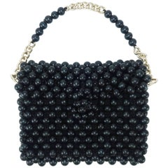 1960's Mod Black Wood Bead Handbag