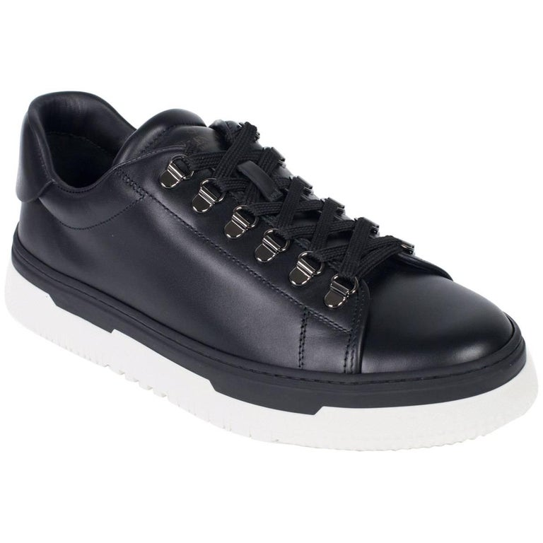 Valentino Mens Black Leather Low Top La Platform Sneakers