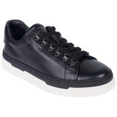 Valentino Mens Black Leather Lace Platform Sneakers