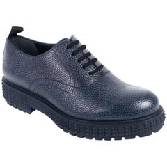 Valentino Men's Navy Leather Punky-Ch Derby Shoe