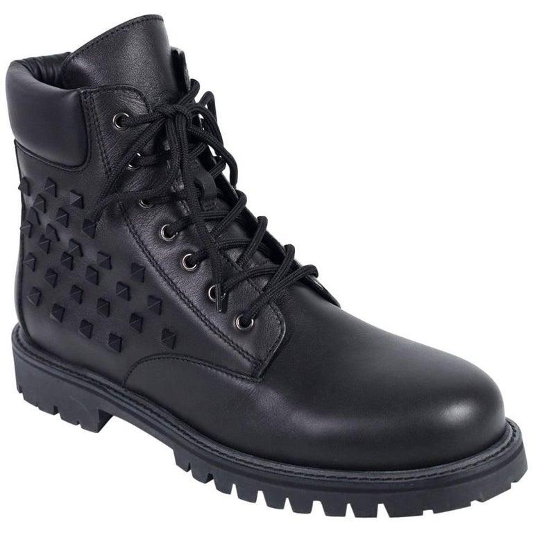 Valentino Mens Black Rockstud Lace Up Combat Boot