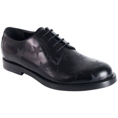 Valentino Men's Black Leather Lace-Up Star Derby Oxford