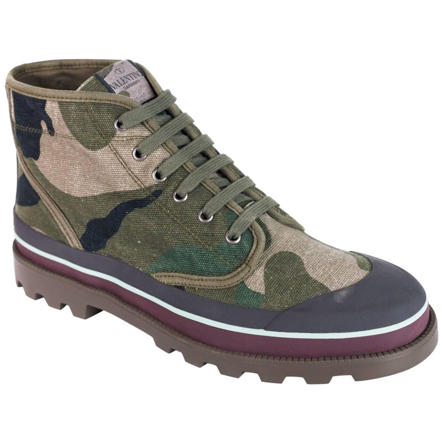 520f9c6268a Valentino Men Green Grey Camouflage Canvas Desert Boots For Sale at 1stdibs