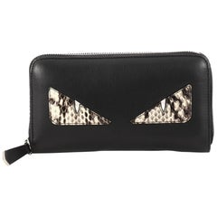 Fendi Monster Zip Around Wallet Leather and Python Long