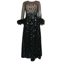 Early 1970s Oscar de la Renta Ostrich Feather & Sequin Dress