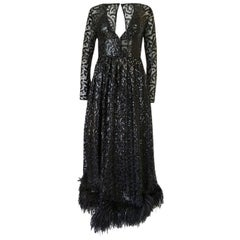 Bill Blass Plunging Sequin and Feather Silk Chiffon Dress, 1960s