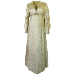 1960s Malcolm Starr Green & Gold Metallic Brocade Maxi Dress