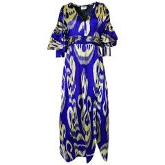 """Recent Zazi Vintage Silk Ikat """"Madhu"""" Bliue & Gold Caftan Dress"""