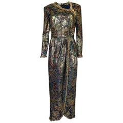 c1975 Oscar de la Renta Metallic Silk Lurex Dress w Bell Detailing