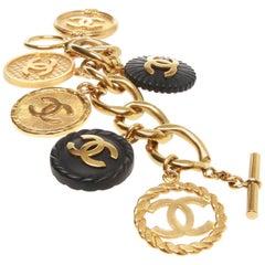 Chanel Large Charmed Bracelet, Large Link 1994 Model, w/ Black and Gold CC Charm