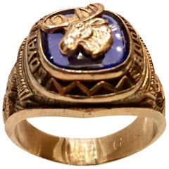 70'S 10K Gold & Blue Stone Fraternal Moose Legion Ring-Size 11.75