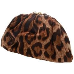 DOLCE GABBANA Leopard Print Half Moon Clutch Bag