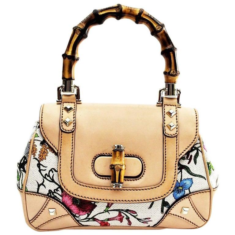 Gucci  Floral Flora Canvas Bamboo Top Handle Bag
