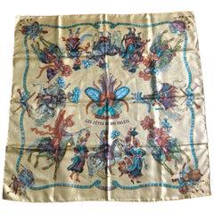 Vintage HERMES Carre silk scarf with yellow tone print. Les Fetes Du Roi Soleil.